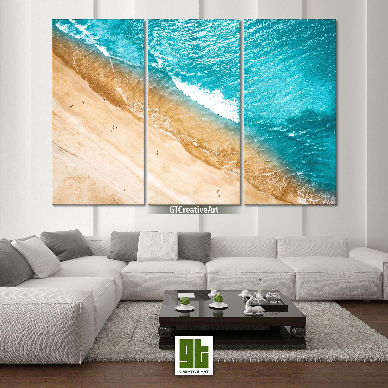 Tropical Beach Artwork Multi Panel Framed Canvas Ocean Top Etsy Beach Artwork Seascape Wall Art Canvas Frame