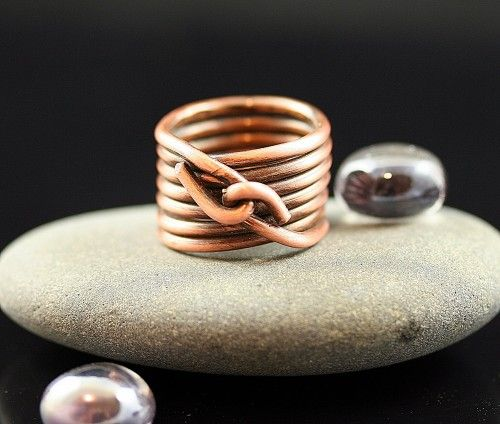 Wire Wrapped Statement Ring Large- Copper- Stacked ring | Schmuck ...