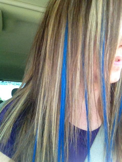 dirty blonde color with blue extensions