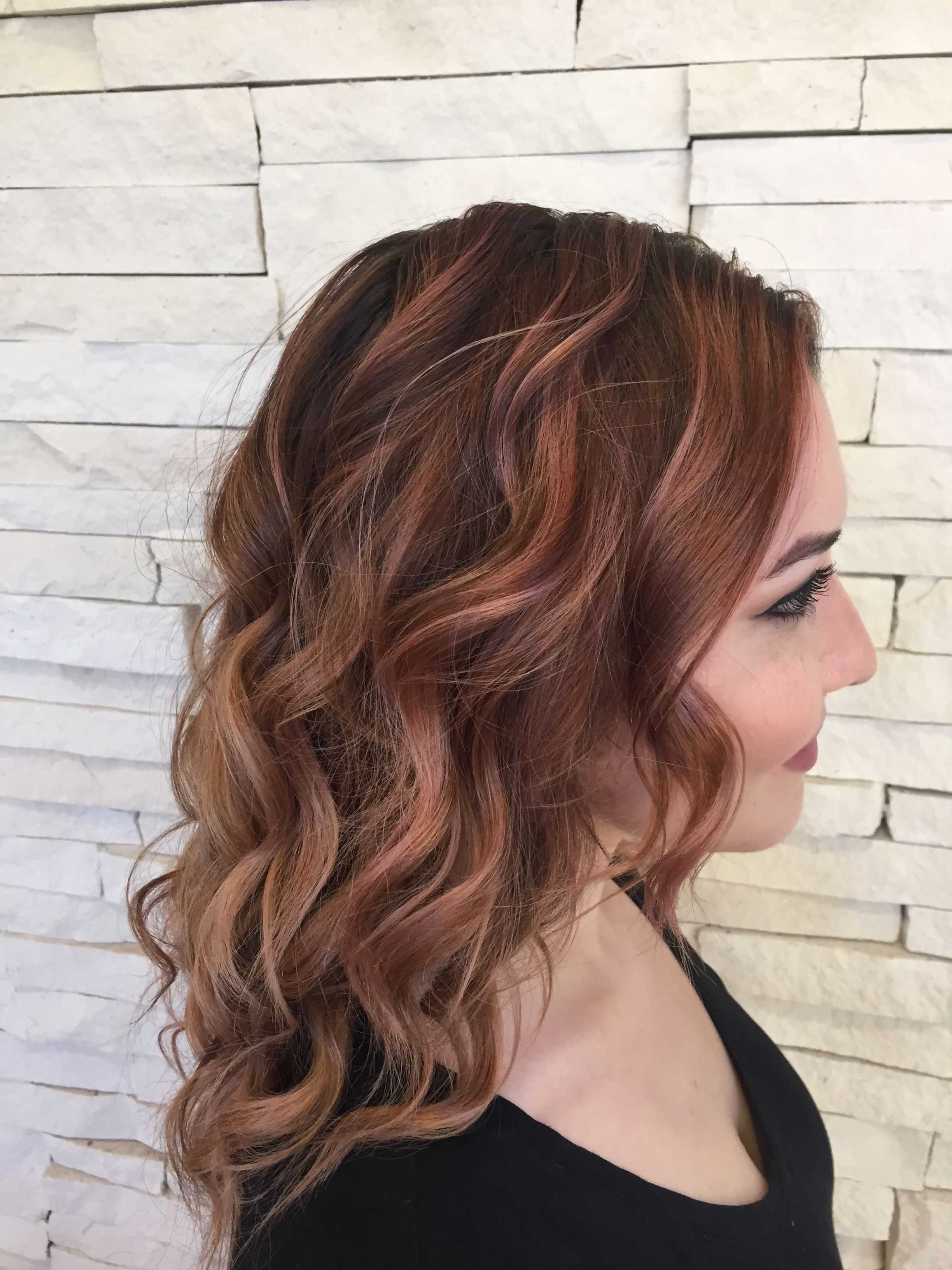 Rose Gold Balayage By Ashley Wilson At Jose Luis Salon Austin Tx Auburn Balayage Auburn Hair Hair