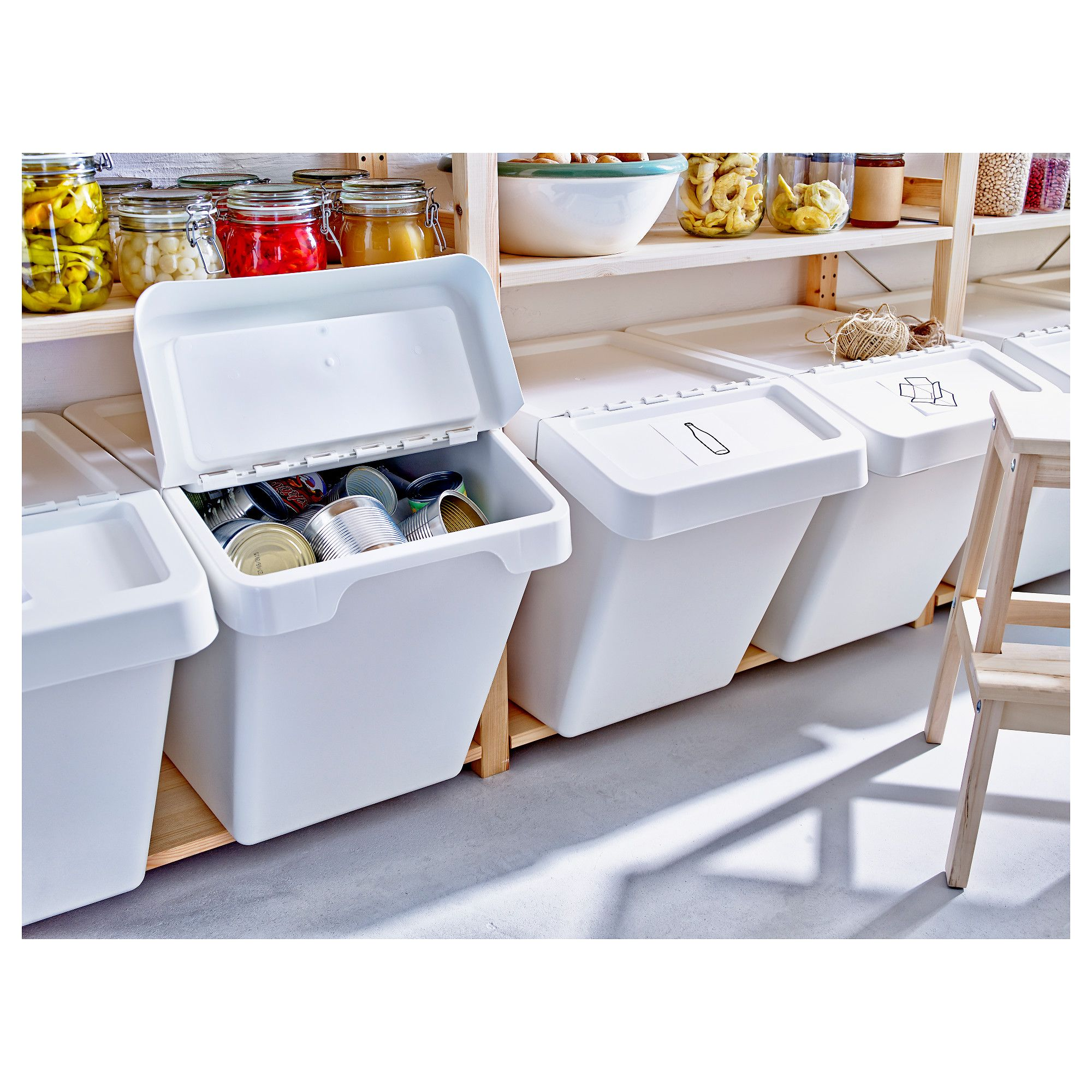 Sortera Waste Sorting Bin With Lid White Rangement