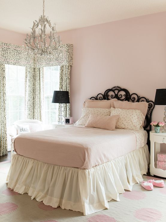 Pink And Black Girls Bedroom Transitional Girl S Room Pink Bedroom Walls Light Pink Bedrooms Pink Bedrooms