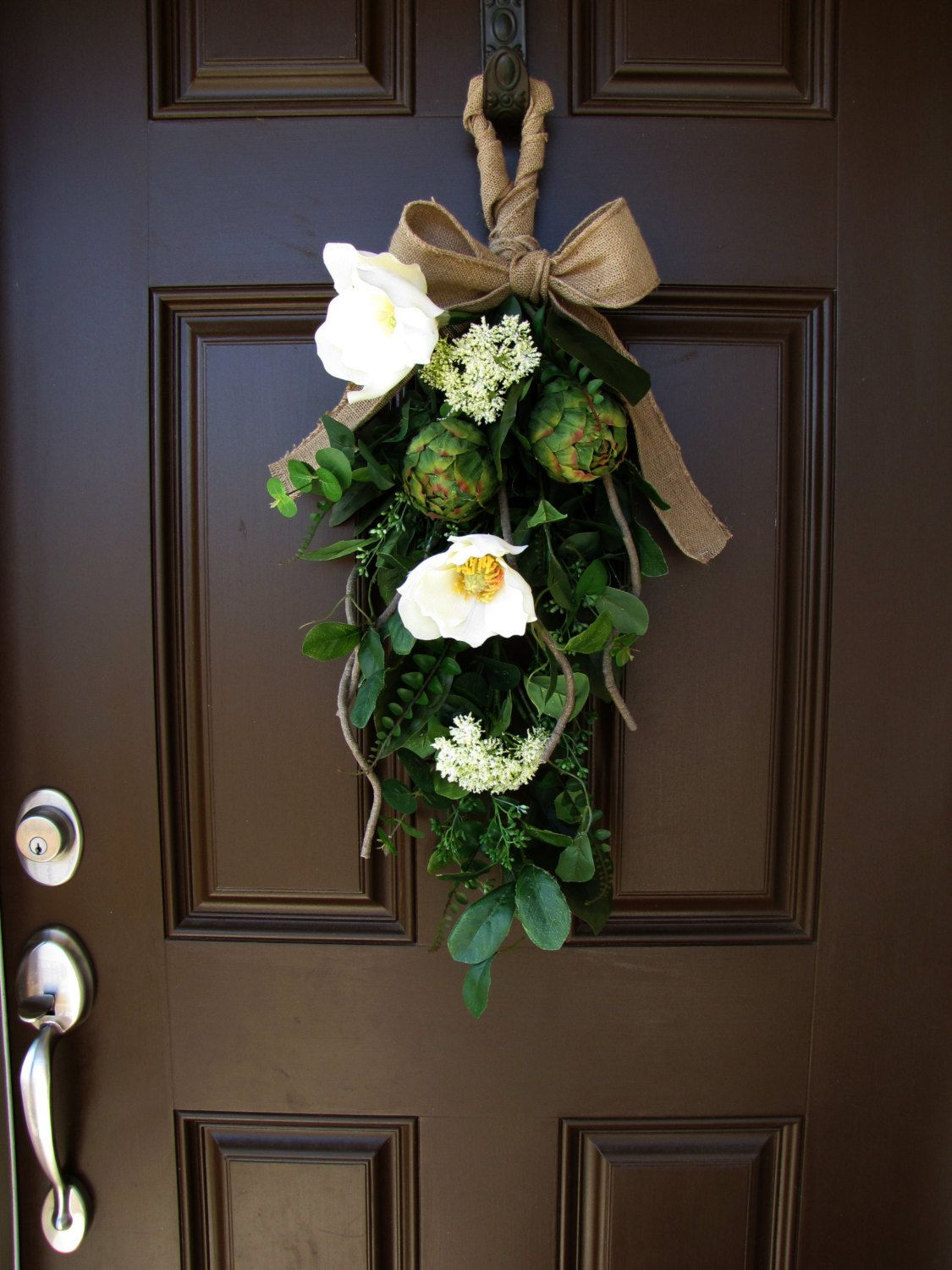 Beau Magnolia And Artichoke Front Door Swag Burlap By TheWrightWreath, $60.00