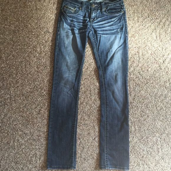 Request Straightleg Jeans size 5/27 Excellent condition. Awesome detailing. Cotton spandex blend for stretch. Jeans