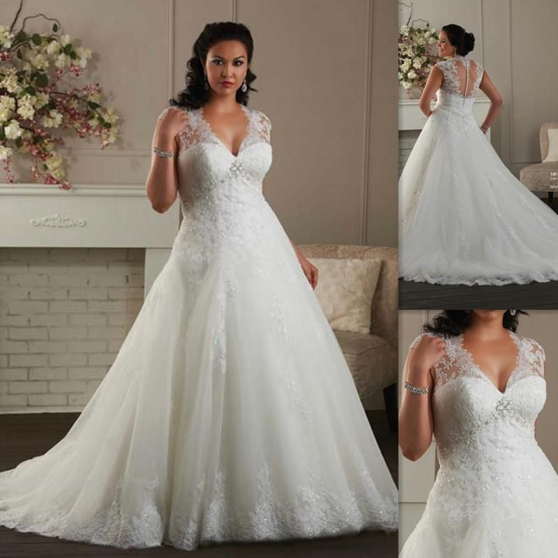 Plus Size Wedding Dresses 2016 Cap Sleeves A Line White Tulle Liques Lace Sweetheart Bridal Gowns Formal Custom Made Bride Dress Slim