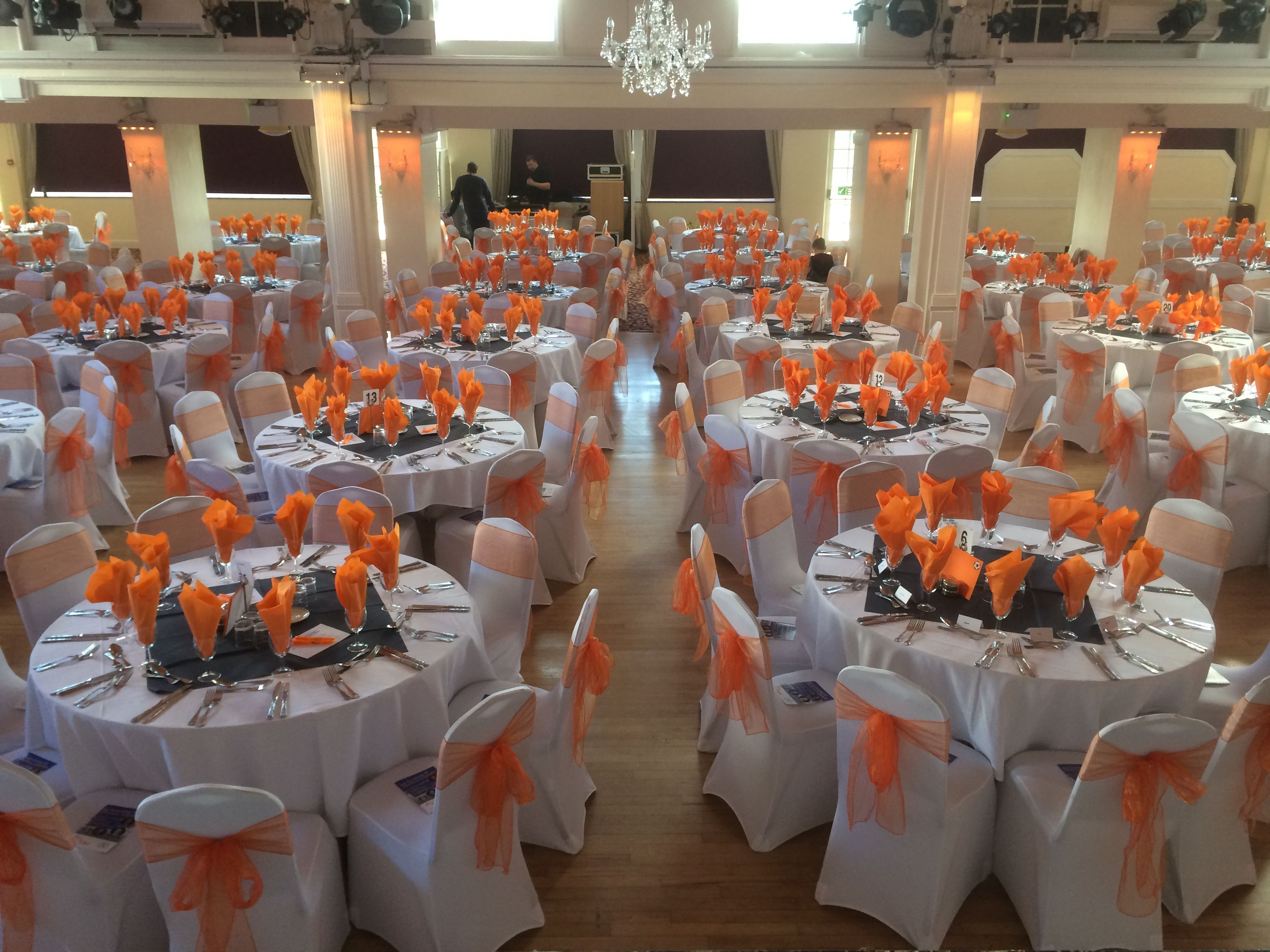 beautiful chair cover hire oxfordshire reclining desk with monitor white covers coral orange organza