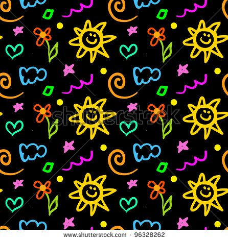 Simple Doodle Ideas | ... of seamless background for kids, cartoon ...