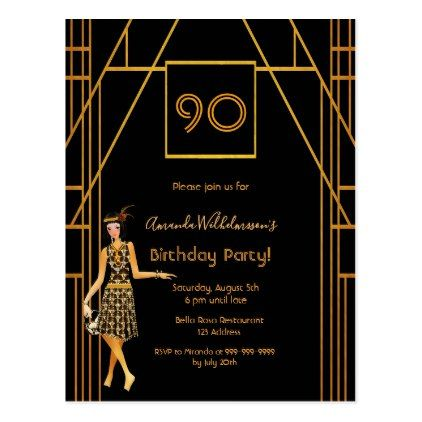 birthday black gold Gatsby style invitation Postcard
