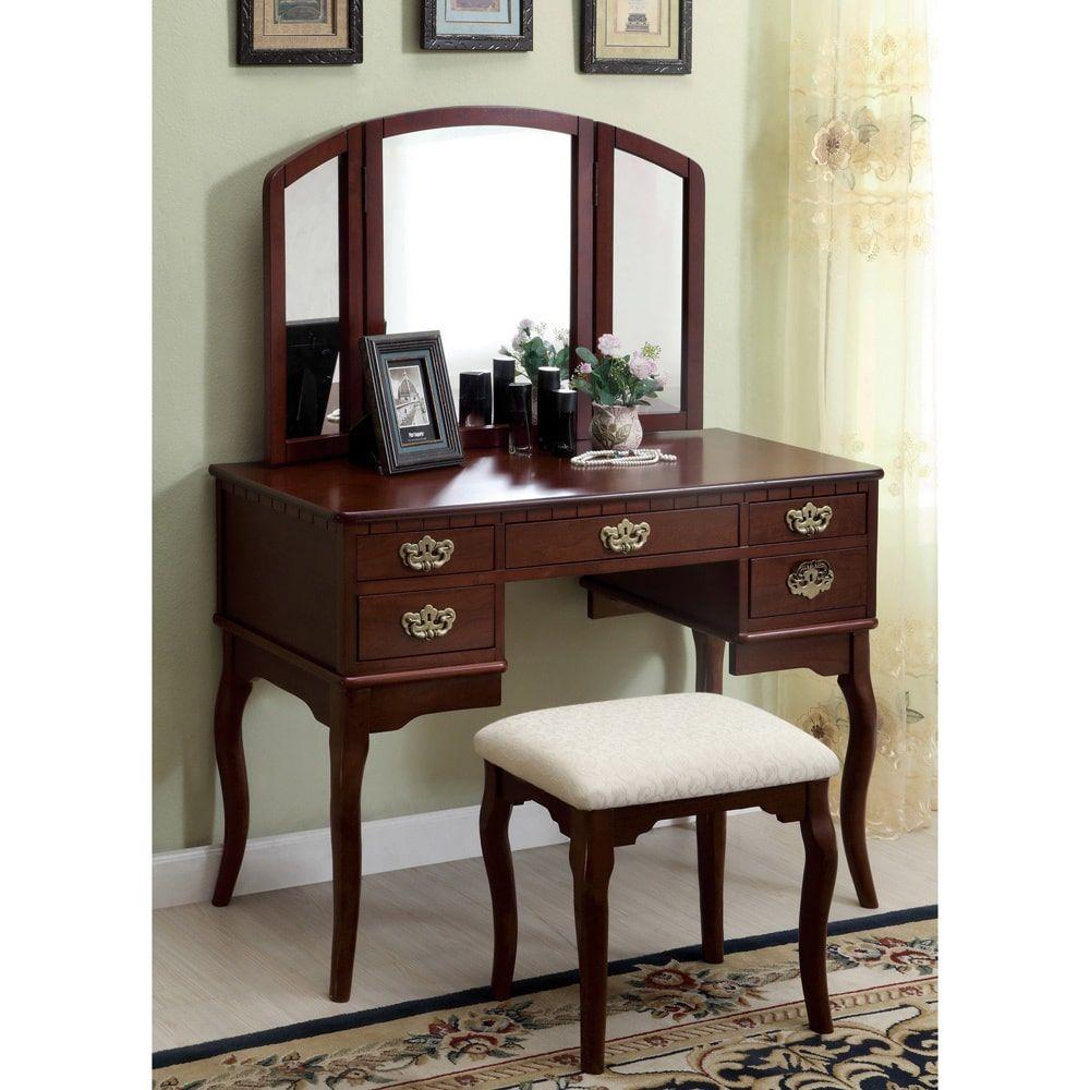 Furniture of america doris solid wood vanity table and stool set
