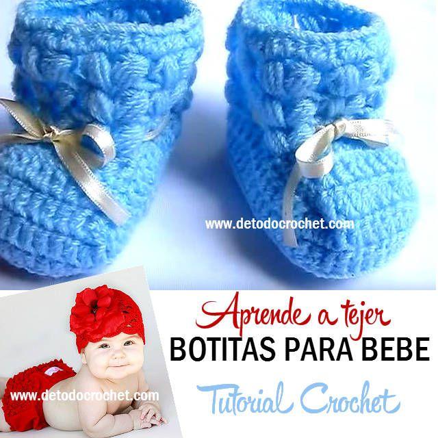 Botas crochet para ajuar de bebe tutorial | crochet para bebes ...