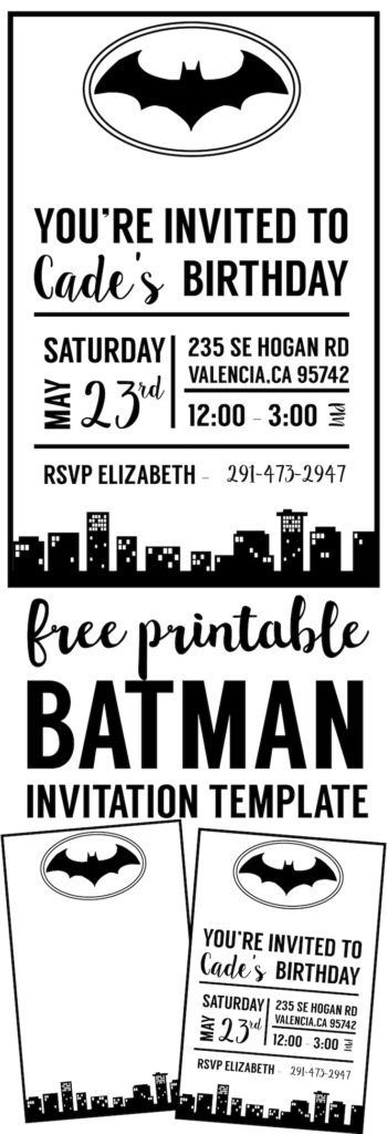 free batman invitation template - Free Halloween Invite Templates