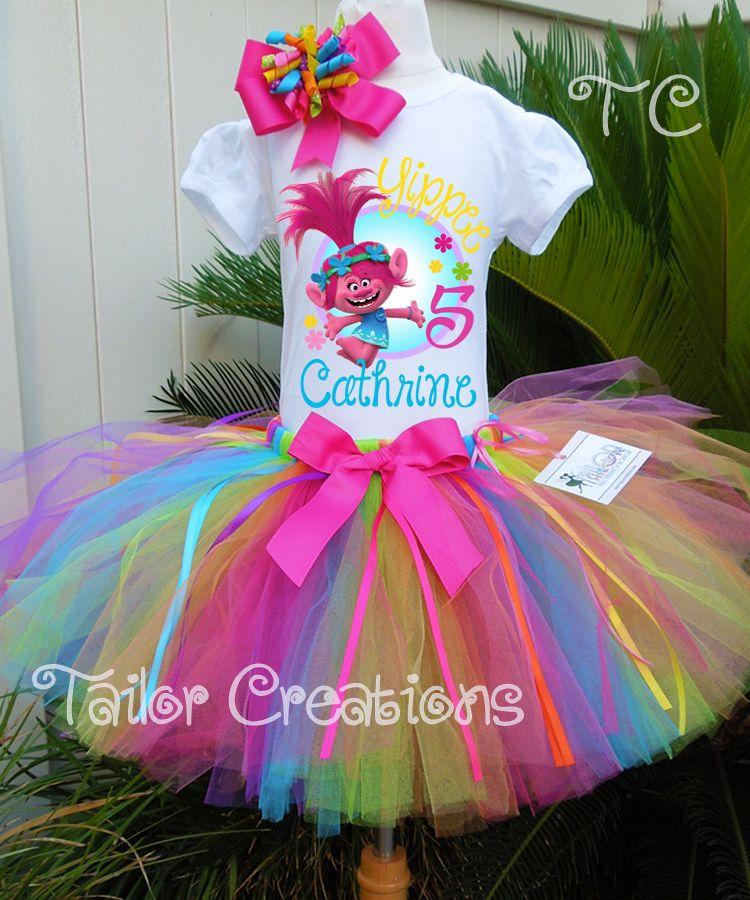 Poppy Trolls Birthday Tutu Outfit 2nd Pink Purple Girl Sequin Headband Rainbow