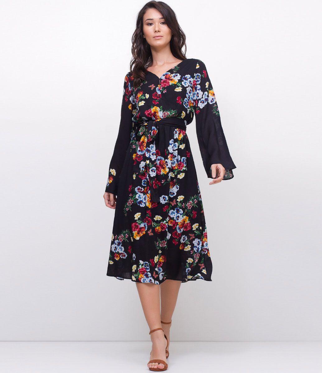 0dee58c9f2 Vestido feminino Manga longa Amarração na cintura Estampa floral Marca   Marfinno Tecido  viscose Composição