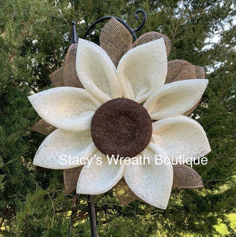 Photo of Sunflower Wreath for Front Door, Sunflower Wreath Poly Burlap, Sunflower Wreath Spring and Summer, Daisy Wreath, Daisy Decor