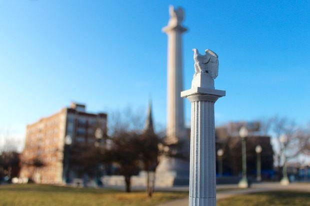 Tabletop Logan Square monument