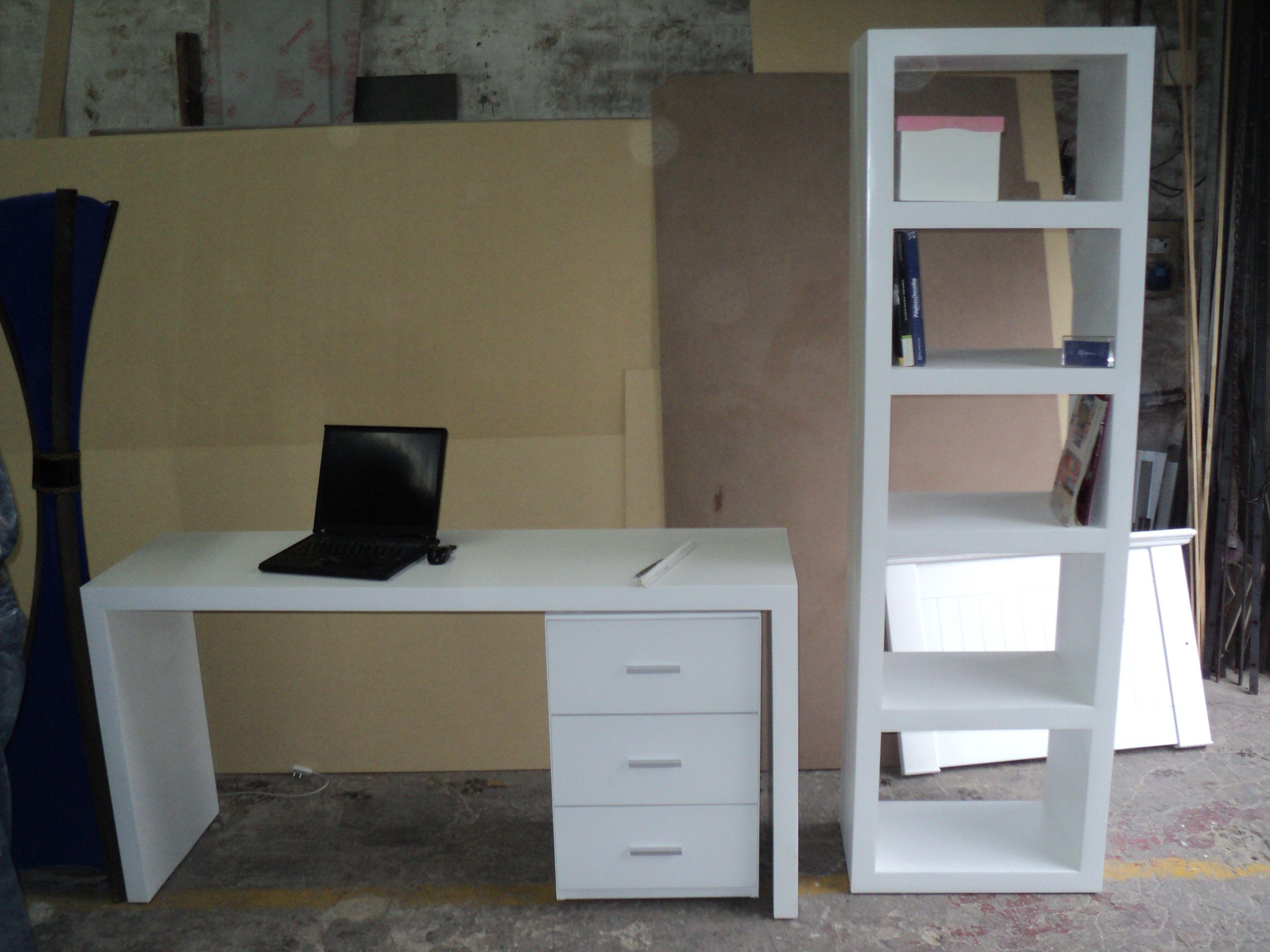 Escritorio con cajonera y biblioteca laqueado blanco - Cajonera para escritorio ...