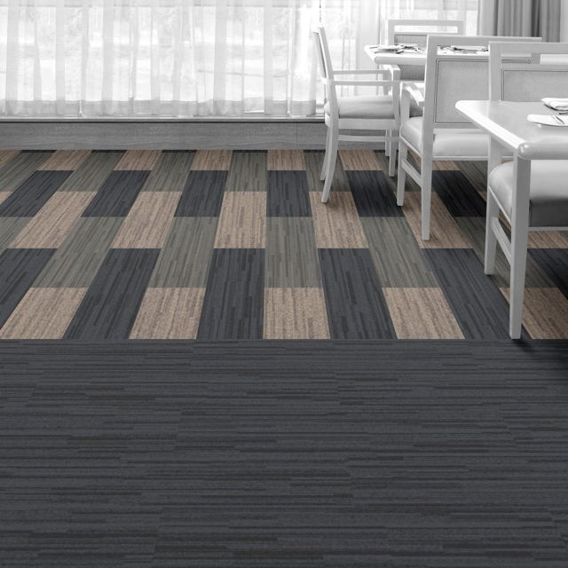 Interface Floor Design  | B701: Black Sea, B701: Driftwood, B701: Caspian |  Find inspiration for your next interior design project with floors composed of modular carpet tiles from Interface