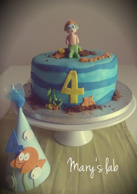 Bubble guppies 4 birthday cake and bubble guppies themed birthday hat