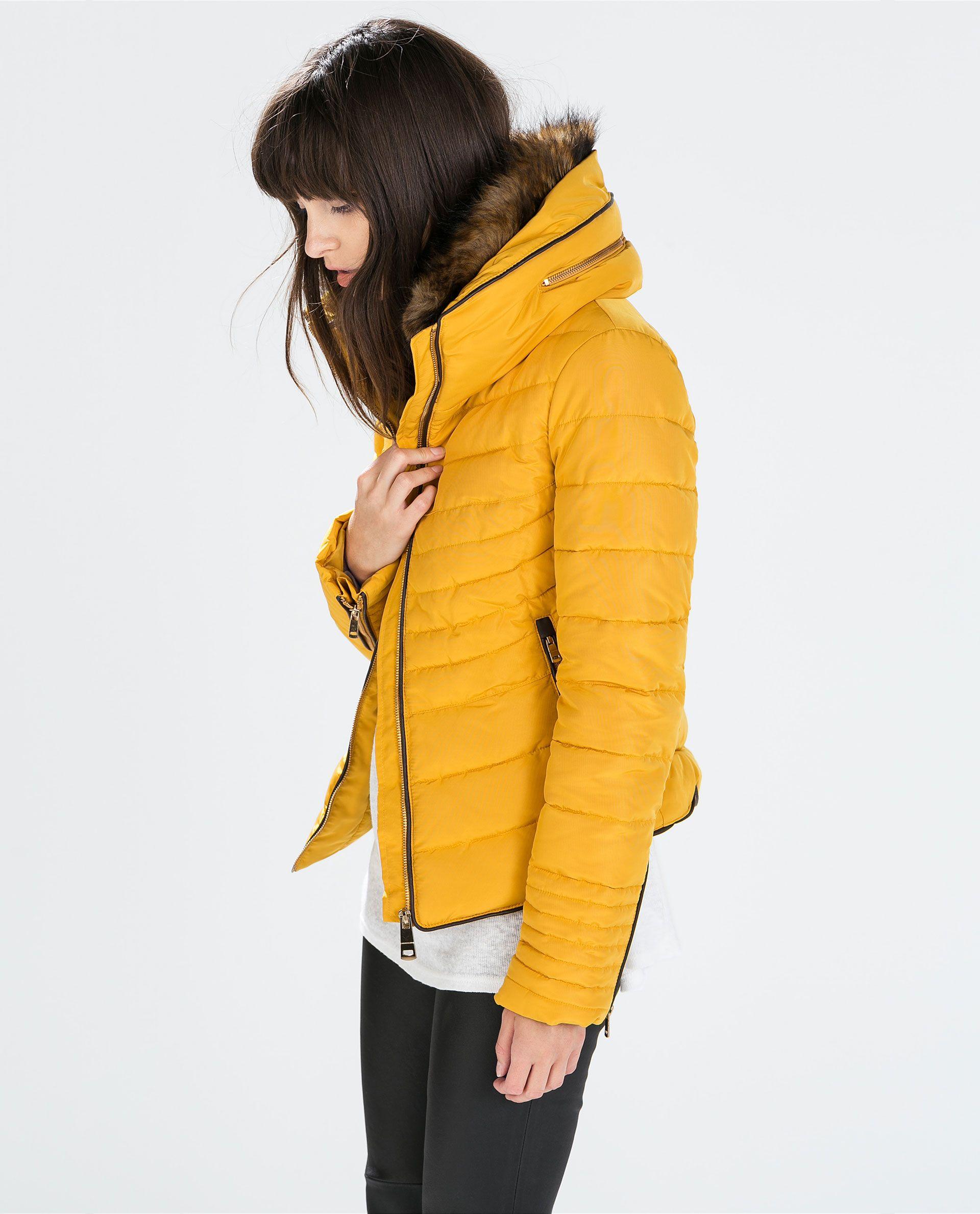 ZARA amarillo mostaza, acolchado abrigo collar de piel