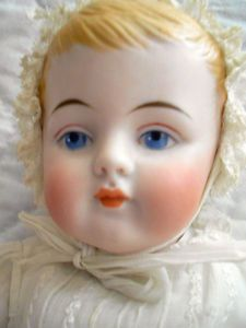 """ANTIQUE HUGE AMAZING 13 """" RARE 12 PART MOLD ALL BISQUE BABY MOLDED HAIR"""