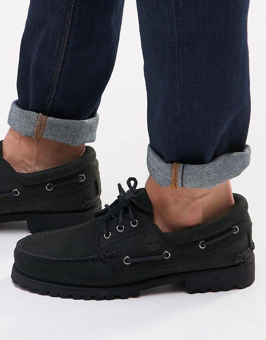 black mens deck shoes