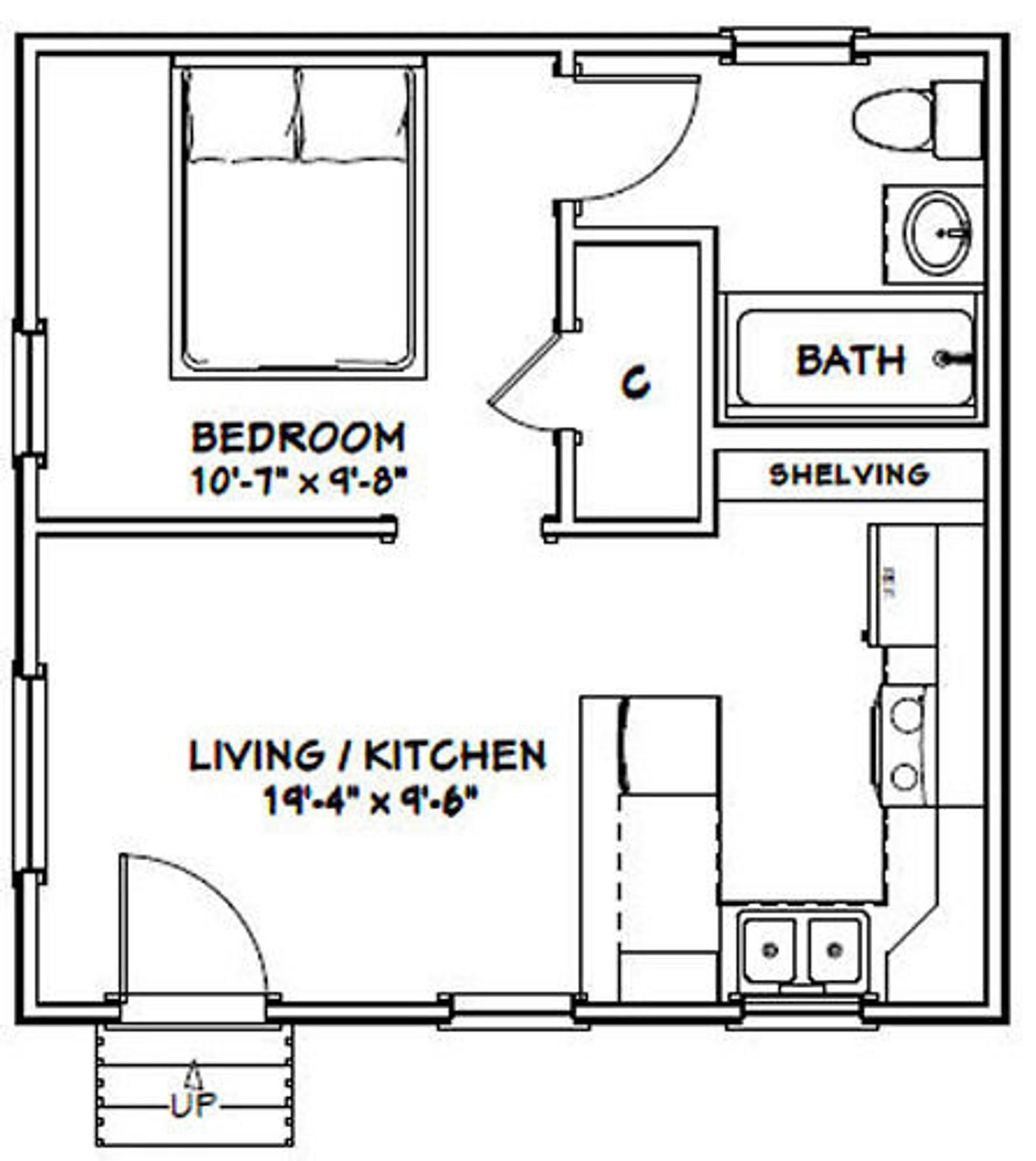 20x20 Tiny House 1Bedroom 1Bath 400 sq ft PDF