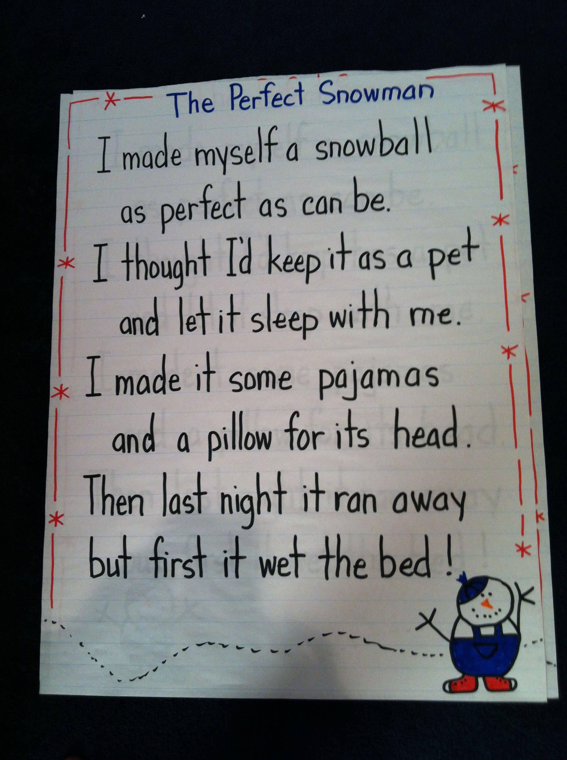 Cute Snowman Poem For Kinder Or First