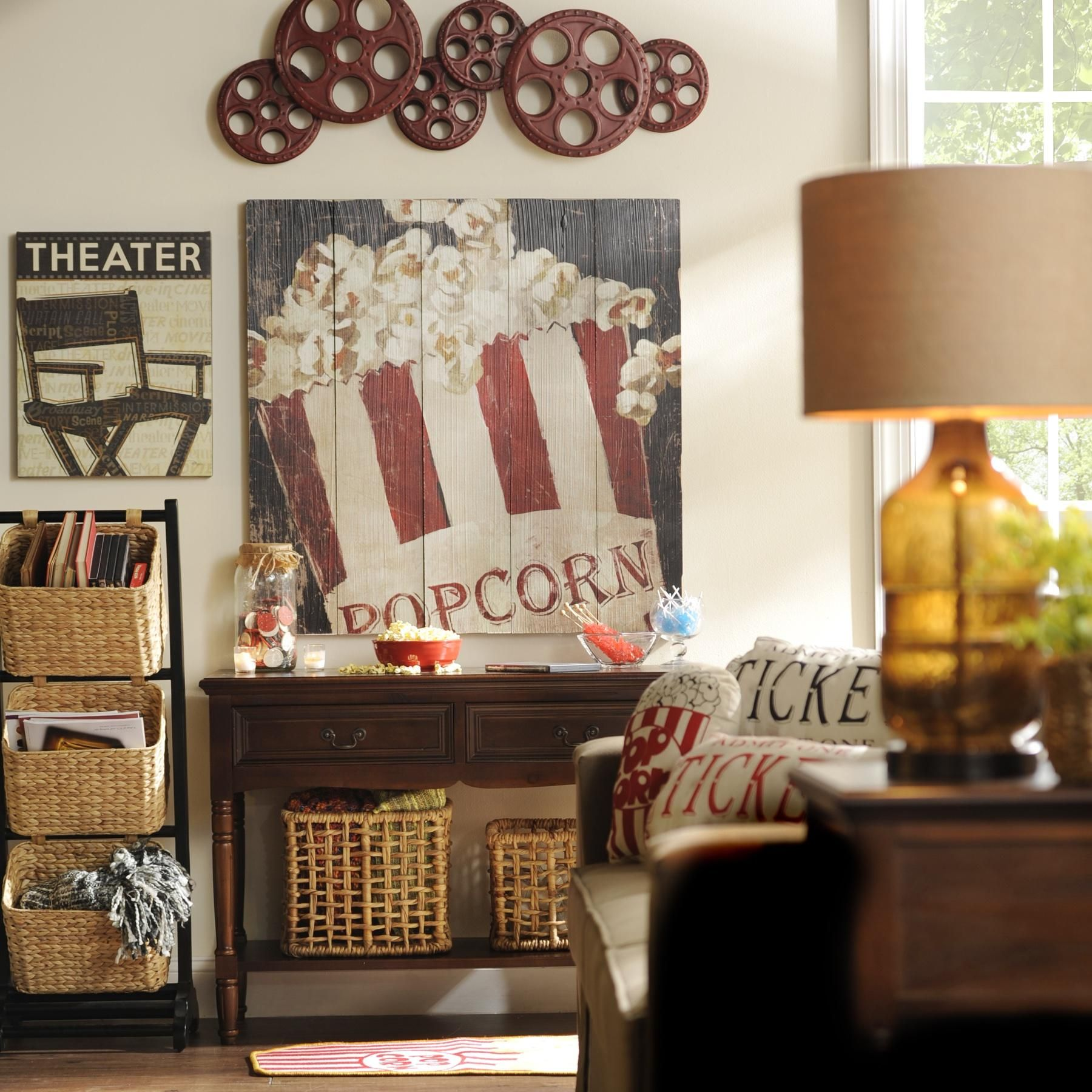 incorporate vintage flair and movie themes into your media room with rh pinterest com Rustic Themed Living Room Beach Themed Living Rooms