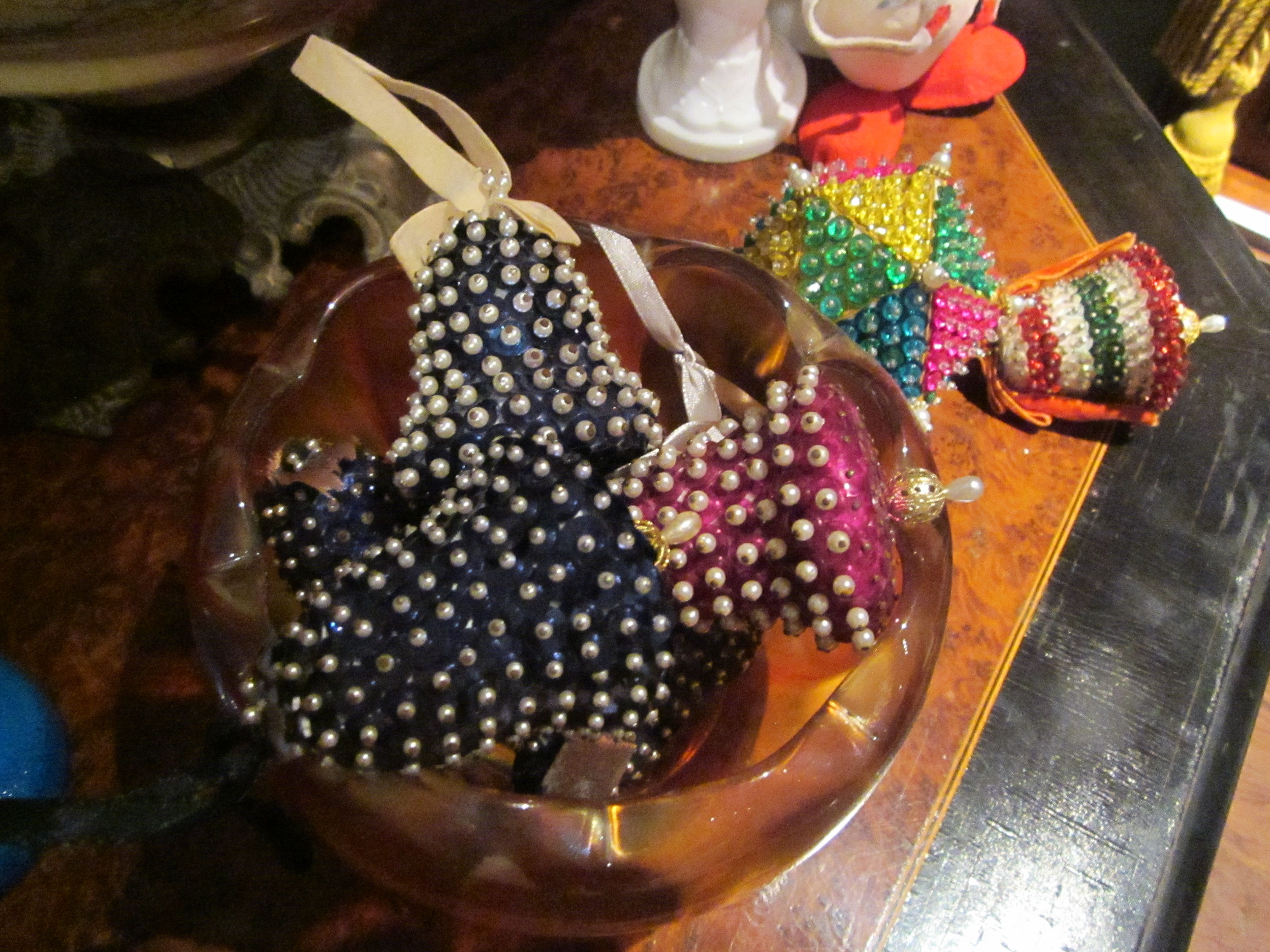 Vintage beaded Christmas ornaments from the collection of