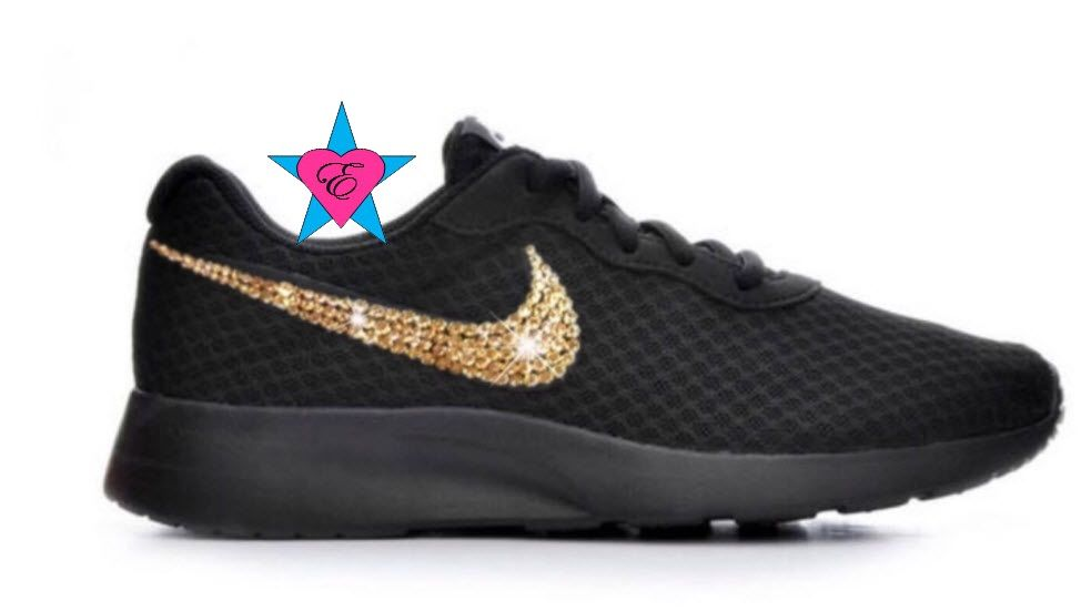 87317cac392a0 Custom Black Sole Gold Crystal Sneakers Bling Tanjun these have gold ...