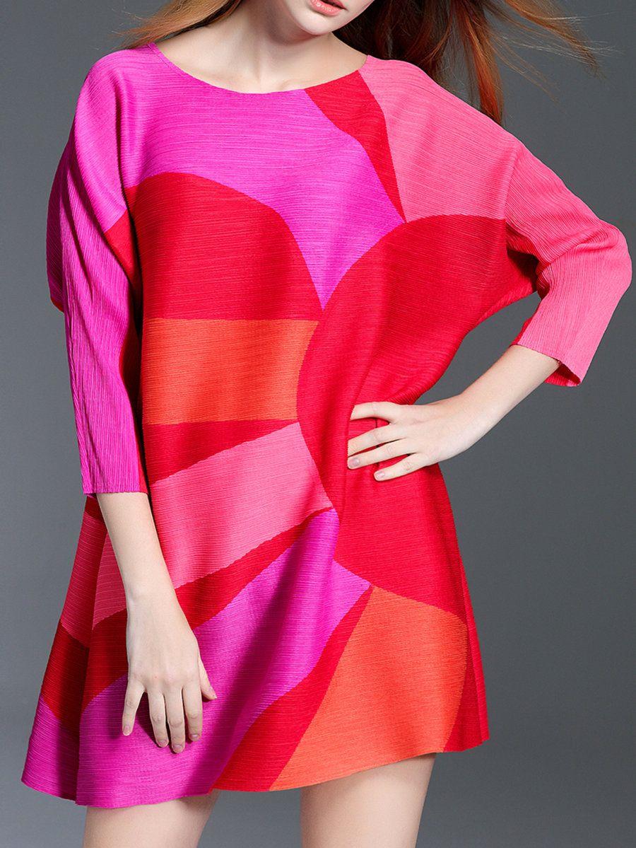 AdoreWe #StyleWe Tunics - KK2 Fuchsia Color-block A-line Casual Crew ...
