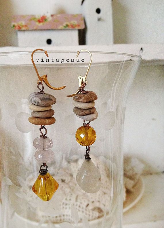 zen sparkleupcycled dangle earrings vintage glass beads by Arey