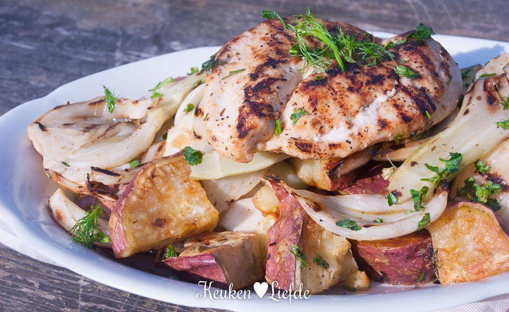 Zoete aardappel venkelsalade met cajunkip keuken liefde salade pinterest salad dressings - Dressing liefde ...