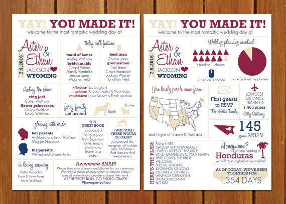 infographic wedding program by bisforbrown on etsy