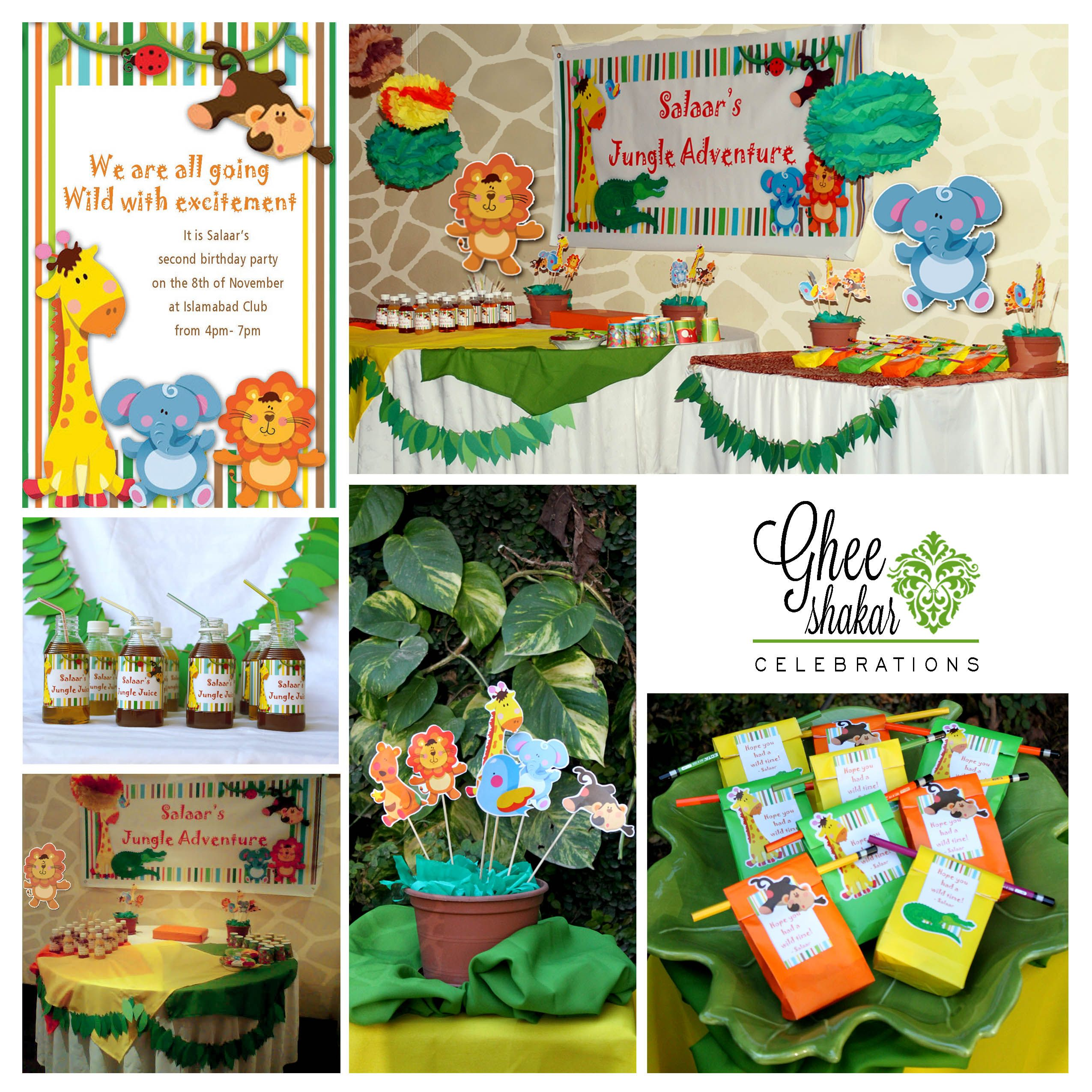 Cute Jungle Themed Birthday Party Decor For 2 Year Old Goodybags Centerpieces Juicebottles