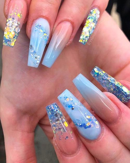Coffin Nails Blue Glitter Nails Blue Ombre Nails Acrylic Nails Coffin Glitter