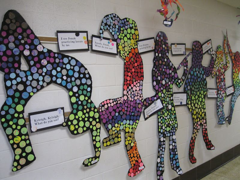 Classroom Design Project : Classroom art project silhouettes w colored circles