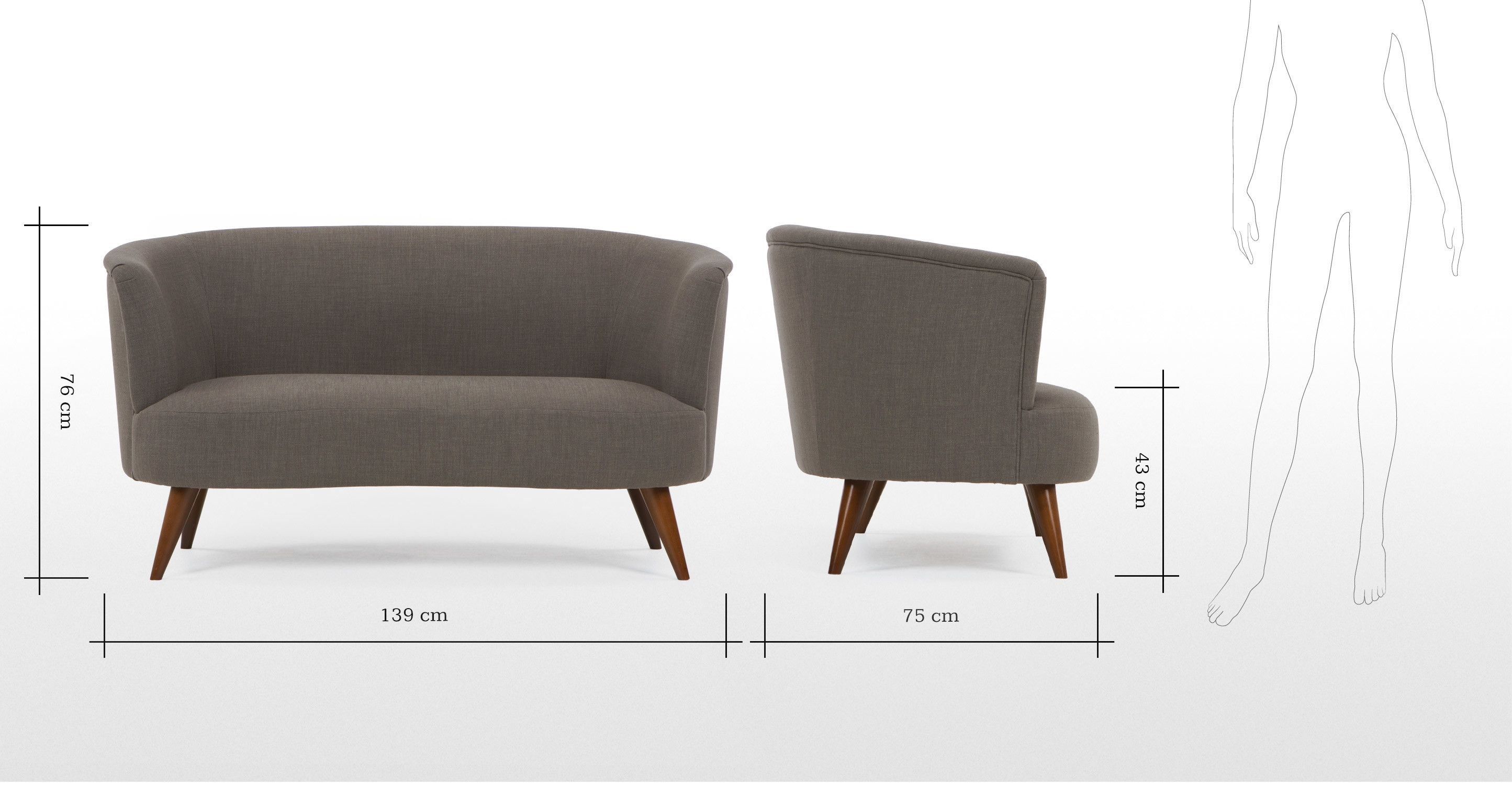 Tubby divano 2 posti color grigio morbido made