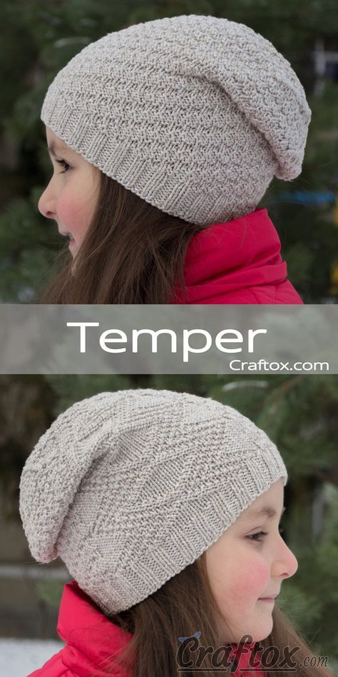 cfede2c7e96 Free knitting pattern for beginners. Child s slouchy beanie hat -