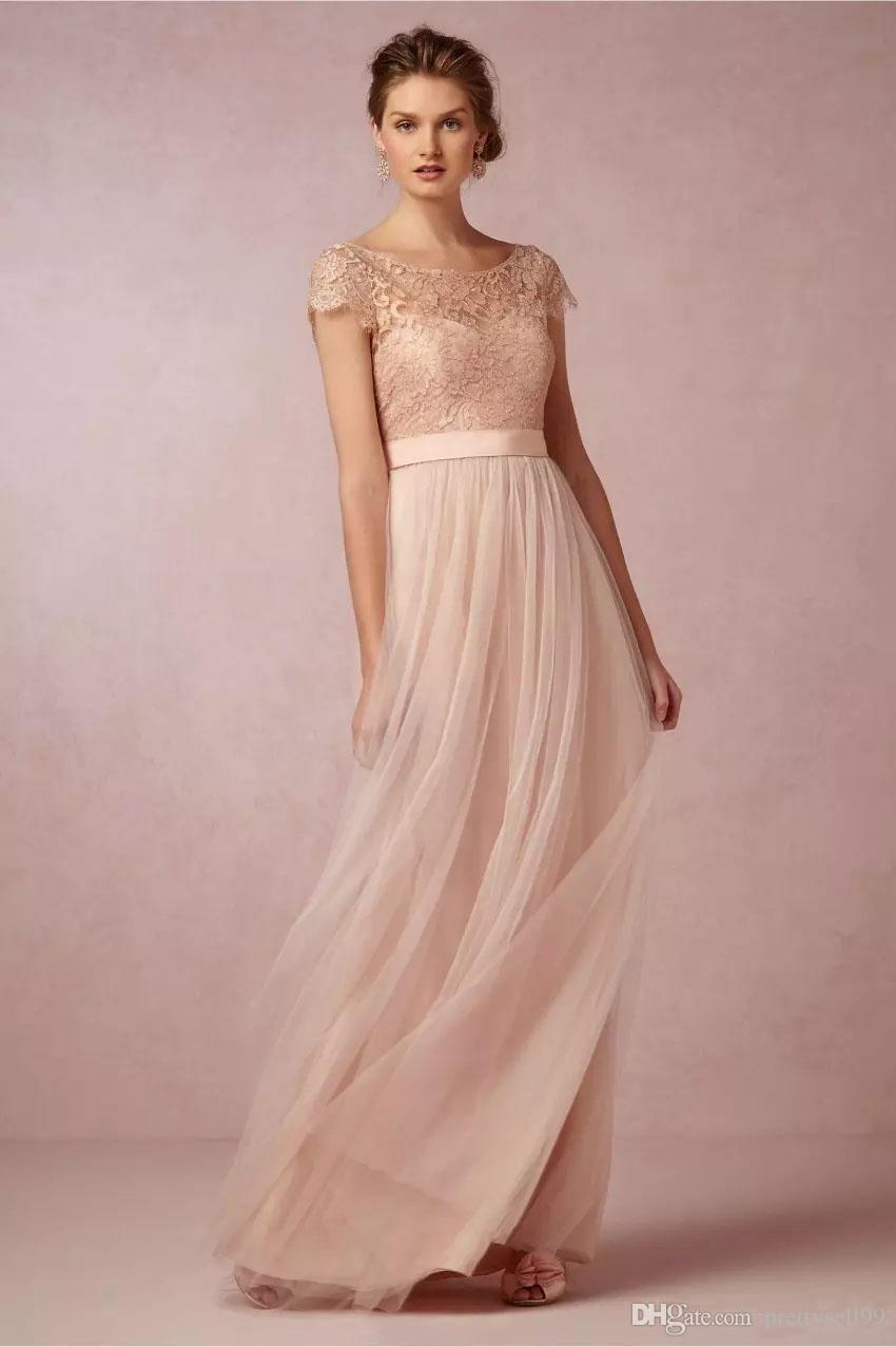 Elegante Spitze Brautjungfer Kleider 16 mit Gürtel kurzen Ärmeln