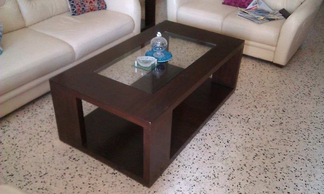 heavy designer glass top center heavy wood tables top