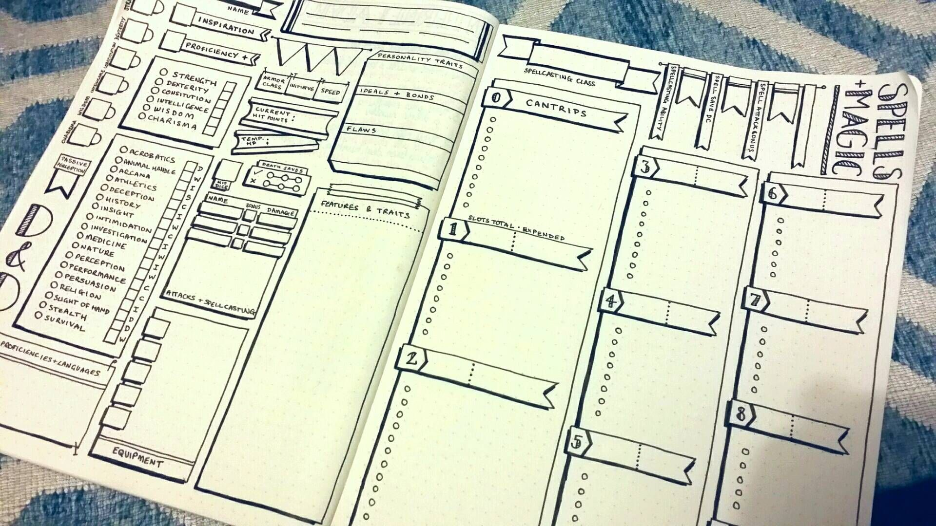 D D Mashed With Bullet Journalling Dnd Character Sheet