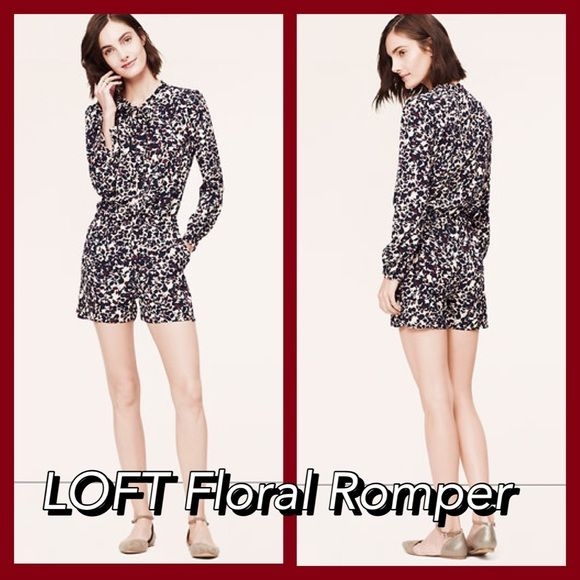 """Petite Floral romper Beautiful pattern, gives a professional or a casual look for the beach. Round neck with ties. Long sleeves. Covered henley button placket. Button cuffs. Elasticized waist. Front slash pockets. 3 1/2"""" inseam. Runs a bit large, Worn once LOFT Pants Jumpsuits & Rompers"""