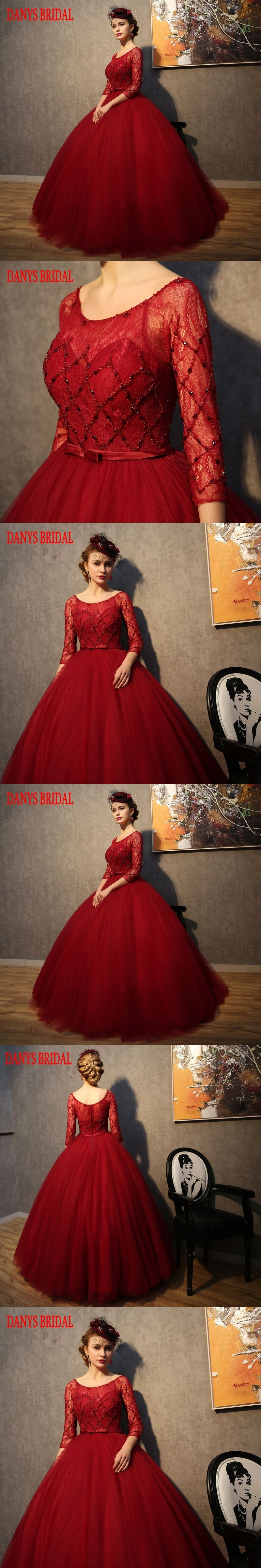 Red long sleeve wedding dress lace tulle ball gown weding china