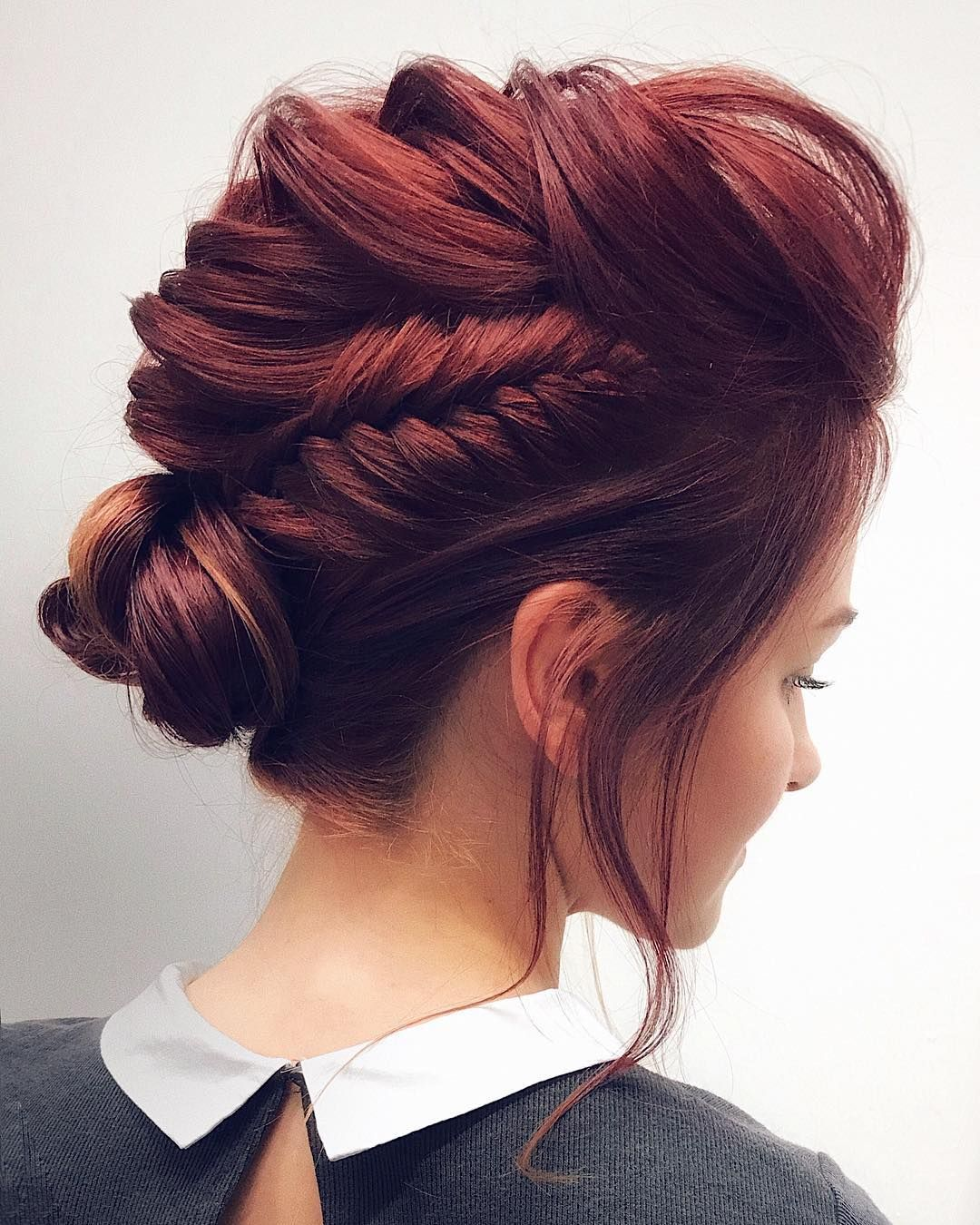 Gorgeous Feminine Braided Updo Wedding Hairstyles