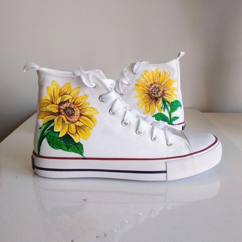 Custom Sunflower Shoes, handpainted flower converse, floral shoes ...