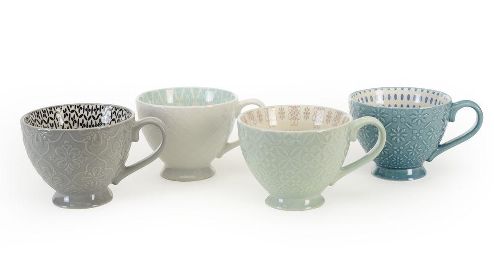Footed Pad Print 13 Mugs 14oz Set Of 4 By Signature Housewares Signaturehousewares Mugs Set Teal Mugs Mugs