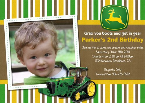 John Deere Tractor Custom Birthday Invitation Custom birthday