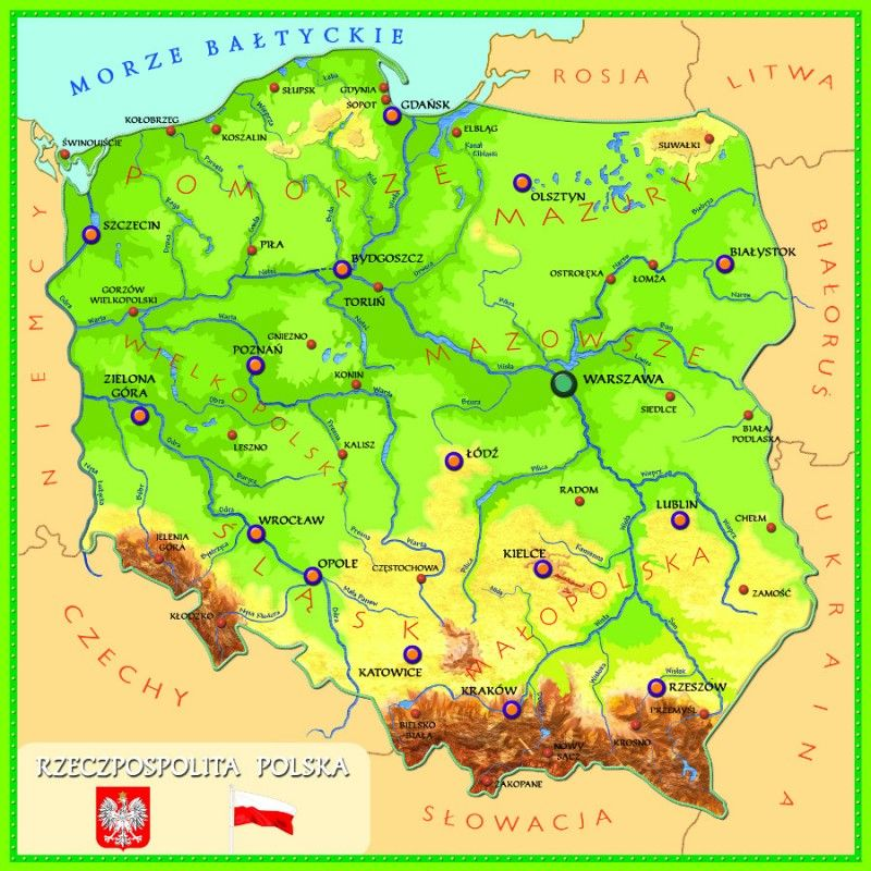 Miasta Wojewodzkie Interaktywna Mapa Polski Online Szkolnictwo