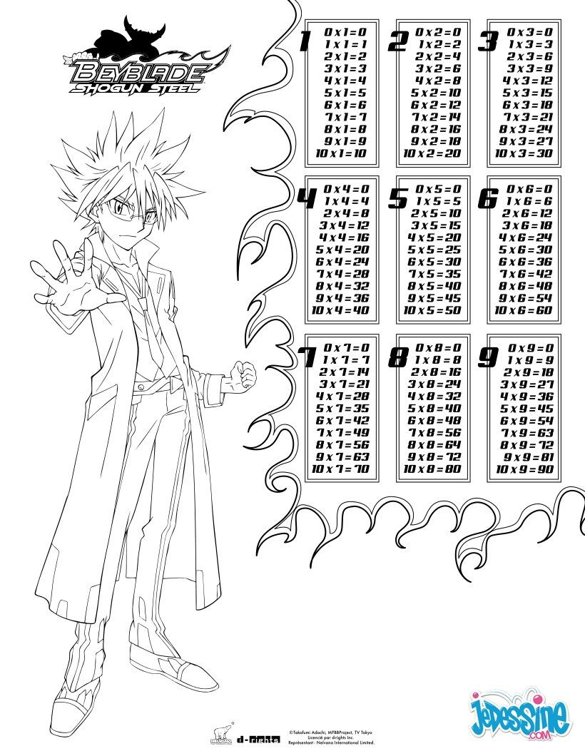 Multiplication Table - Beyblade coloring page | Elliot turning 7 ...
